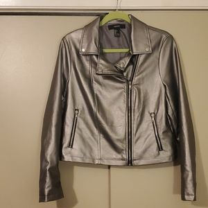 Forever 21 Silver Faux Leather Moto Jacket Sz L